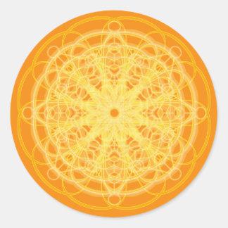 Chakra Mandala Sacred Geometry Bright Orange Round Sticker