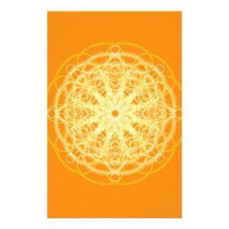 Chakra Mandala Sacred Geometry Bright Orange Stationery