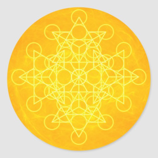 Chakra Mandala Sacred Geometry Bright Yellow Classic Round Sticker