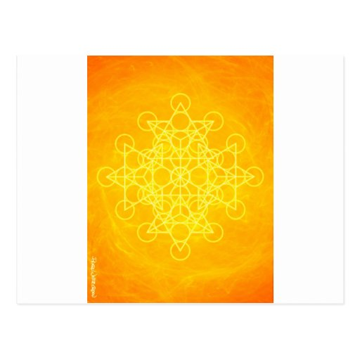 Chakra Mandala Sacred Geometry Bright Yellow Post Cards