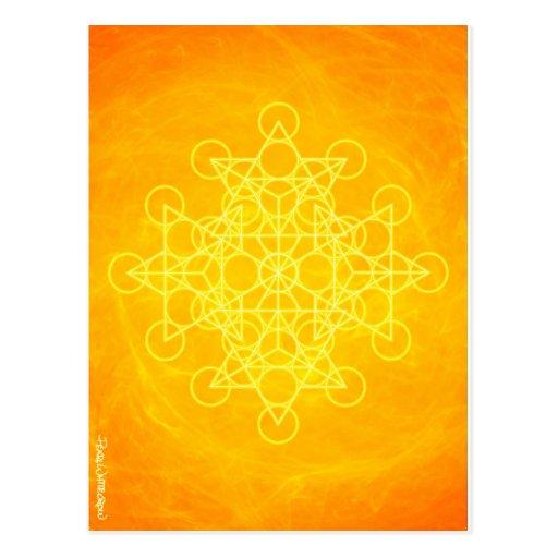 Chakra Mandala Sacred Geometry Bright Yellow Post Card