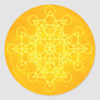 Chakra Mandala Sacred Geometry Bright Yellow Round Sticker