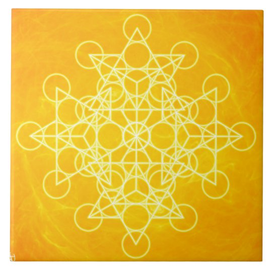 Chakra Mandala Sacred Geometry Bright Yellow Tile