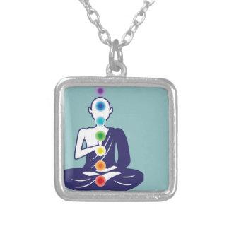 Chakra Meditation vector illustration floating Square Pendant Necklace