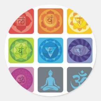 chakra,ohm, aura,zen,chakras,yoga,yogi,healer round sticker