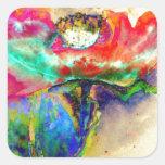 Chakra Poppy Square Sticker