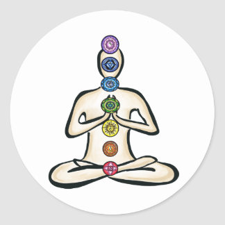 Chakra Powered Round Sticker