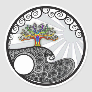 Chakra Tree Round Sticker