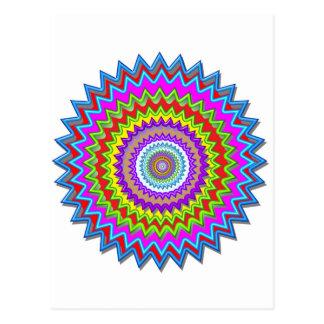 CHAKRA Wheel Illuminated Bright Colors Energy Heal Postcard