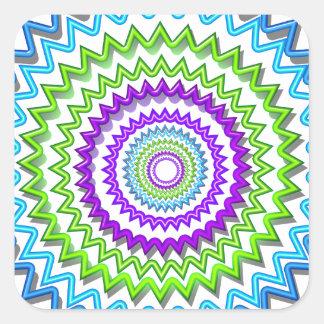 CHAKRA WHEEL Round Neon Sparkle Healing Decoration Square Sticker