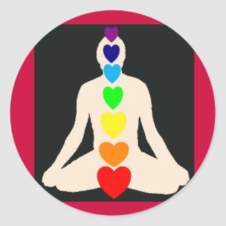 Chakra Yoga Lotus Position Gifts Classic Round Sticker