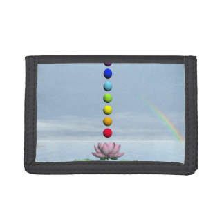 Chakras and rainbow - 3D render Trifold Wallets