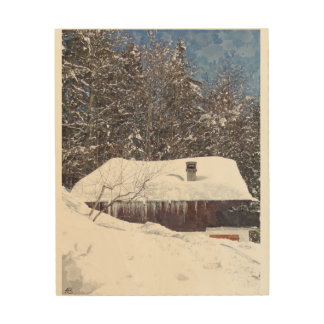 Chalet in the snow wood wall decor
