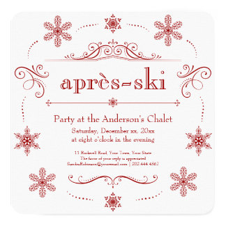 Chalet Winter Holiday Party or Après-ski Cocktails 13 Cm X 13 Cm Square Invitation Card