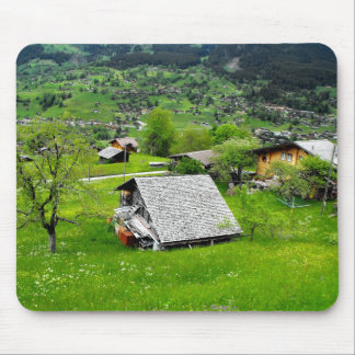 Chalets in an alpine valley in Switzerland Mouse Pad