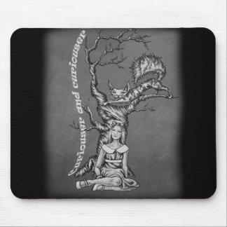 Chalk Alice in Wonderland with Cheshire Cat Art Mouse Pad