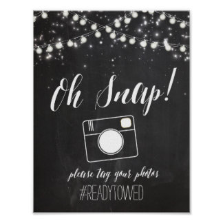 Chalk and Glitter Lights Wedding Hash Tag Sign