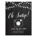 Chalk and Glitter Lights Wedding Hash Tag Sign Poster