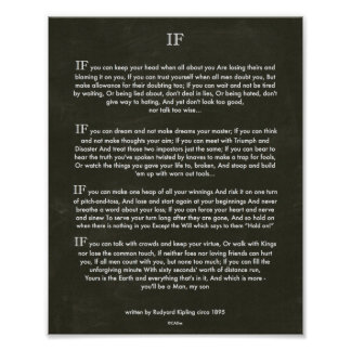 Chalk Art IF Quote by Rudyard Kipling 1895 Poster