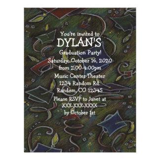 Chalk art theme graduation party flyer invitations