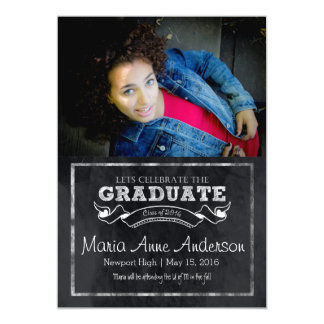 Chalk Banner Graduation Annoucment and Invitation