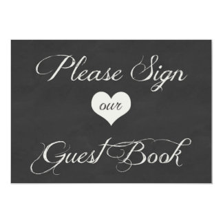Chalk Board Hearts Wedding | Guest Book 13 Cm X 18 Cm Invitation Card