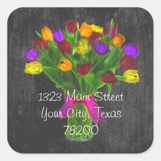 Chalk Board Mixed Color Tulips Address Label Square Sticker