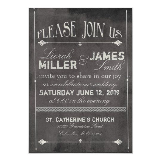 Chalk board Wedding Invitation with old fashioned