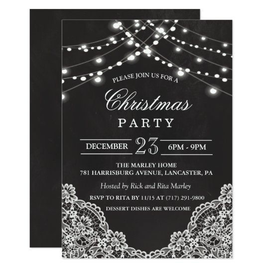 Chalk Christmas Holiday Party Invitation