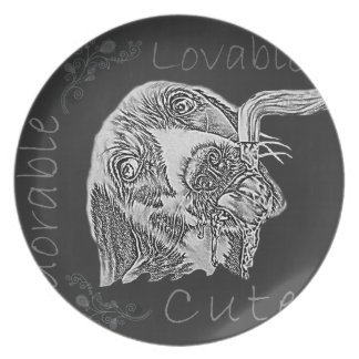 Chalk Drawing of Adorable Dog Drinking Plates