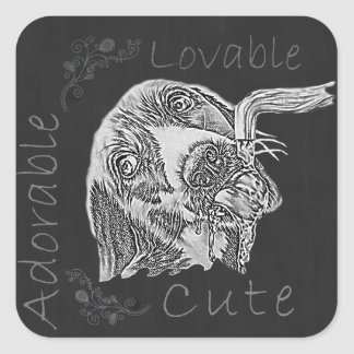 Chalk Drawing of Adorable Dog Drinking Square Sticker