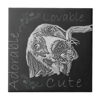 Chalk Drawing of Adorable Dog Drinking Ceramic Tiles