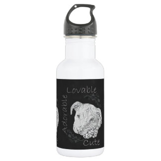 Chalk Drawing of Adorable Pitbull 532 Ml Water Bottle