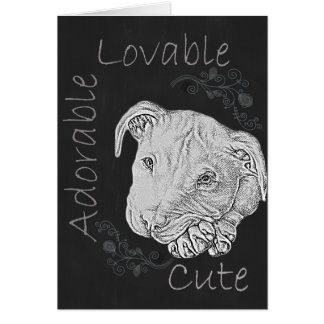 Chalk Drawing of Adorable Pitbull Greeting Cards