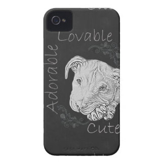 Chalk Drawing of Adorable Pitbull Case-Mate iPhone 4 Cases