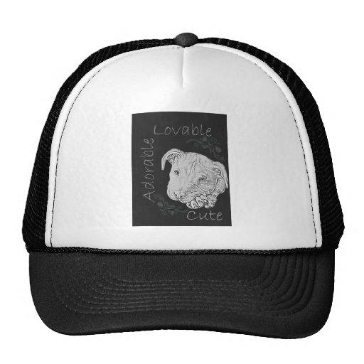 Chalk Drawing of Adorable Pitbull Mesh Hats
