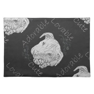 Chalk Drawing of Adorable Pitbull Placemat