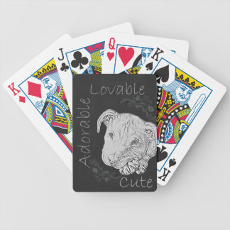 Chalk Drawing of Adorable Pitbull Deck Of Cards