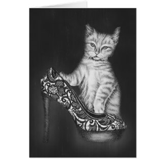 Chalk Drawing of Cat Kitten with Shoe Greeting Card