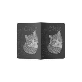 Chalk Drawing of Cute Cat Passport Holder