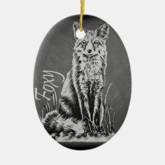 Chalk Drawing of Fox Animal Art on Chalkboard Ceramic Oval Decoration