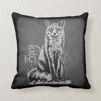 Chalk Drawing of Fox Animal Art on Chalkboard Cushion