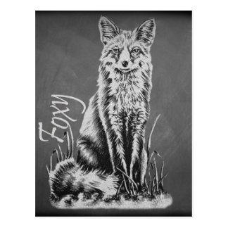 Chalk Drawing of Fox Animal Art on Chalkboard Postcard