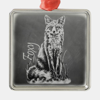 Chalk Drawing of Fox Animal Art on Chalkboard Silver-Colored Square Decoration