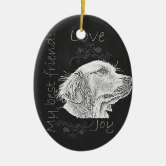 Chalk Drawing of Golden Retriever Ceramic Oval Decoration