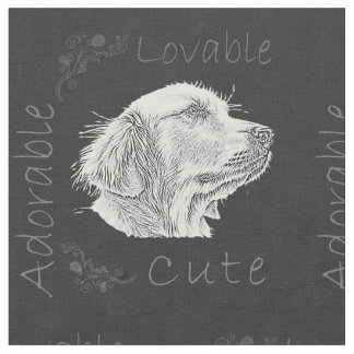 Chalk Drawing of Golden Retriever Fabric