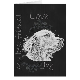Chalk Drawing of Golden Retriever Greeting Card