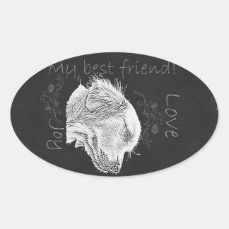 Chalk Drawing of Golden Retriever Oval Sticker