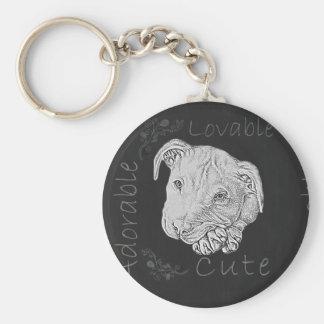 Chalk Drawing of Pitbull Keychain