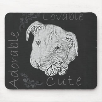 Chalk Drawing of Pitbull Mousepad